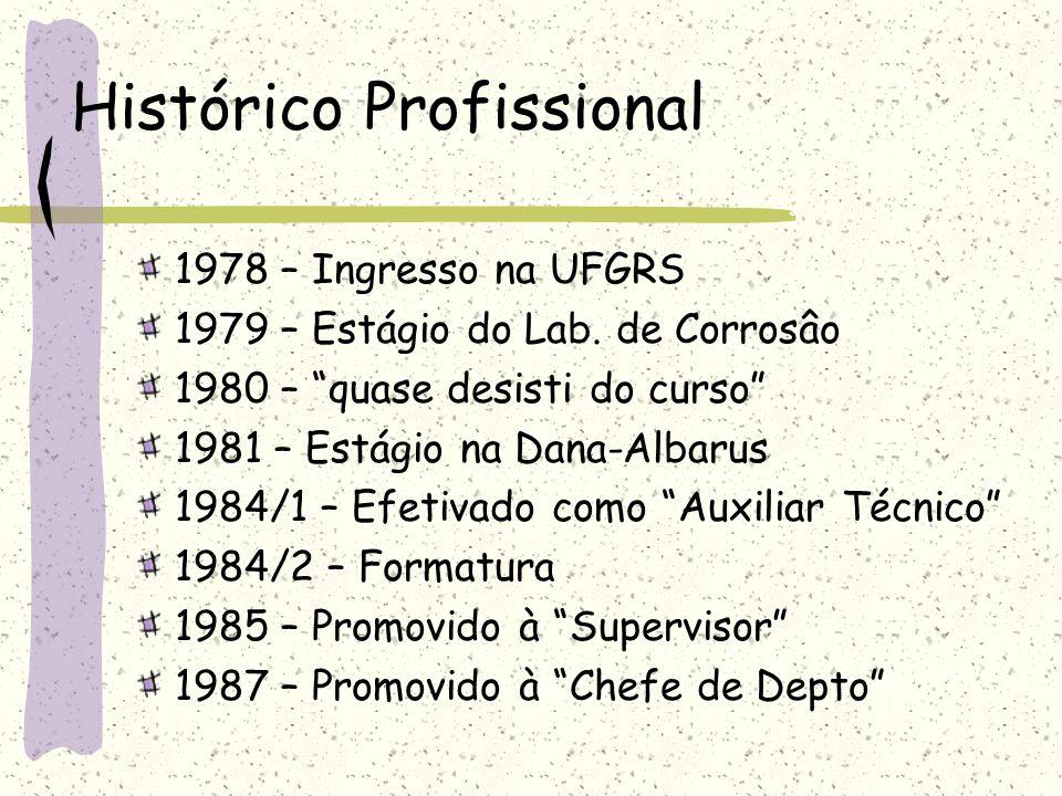 """Histórico Profissional 1978 – Ingresso na UFGRS 1979 – Estágio do Lab. de Corrosâo 1980 – """"quase desisti do curso"""" 1981 – Estágio na Dana-Albarus 1984"""