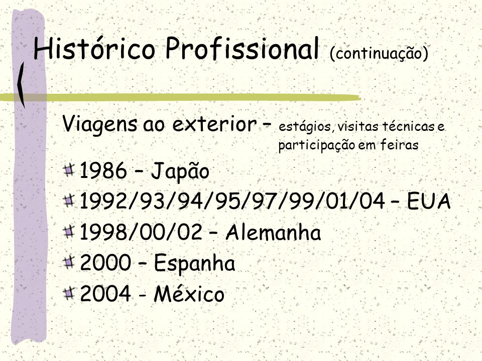Histórico Profissional (continuação) Viagens ao exterior – estágios, visitas técnicas e participação em feiras 1986 – Japão 1992/93/94/95/97/99/01/04