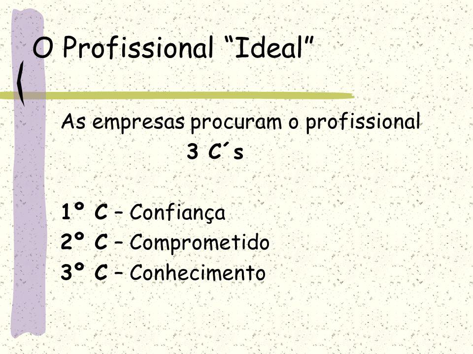 """O Profissional """"Ideal"""" As empresas procuram o profissional 3 C´s 1º C – Confiança 2º C – Comprometido 3º C – Conhecimento"""