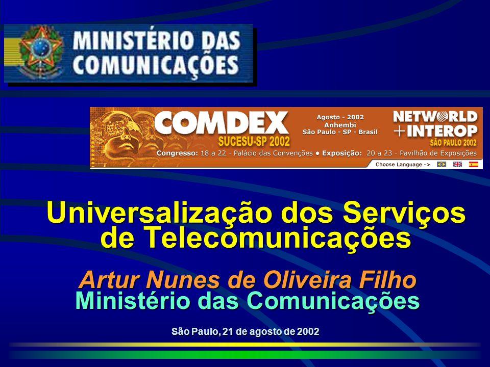 Universalização dos Serviços de Telecomunicações São Paulo, 21 de agosto de 2002 Artur Nunes de Oliveira Filho Ministério das Comunicações