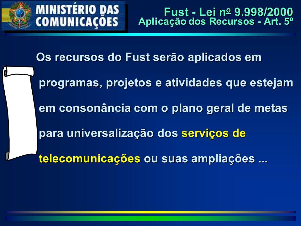 Os recursos do Fust serão aplicados em programas, projetos e atividades que estejam em consonância com o plano geral de metas para universalização dos serviços de telecomunicações ou suas ampliações...