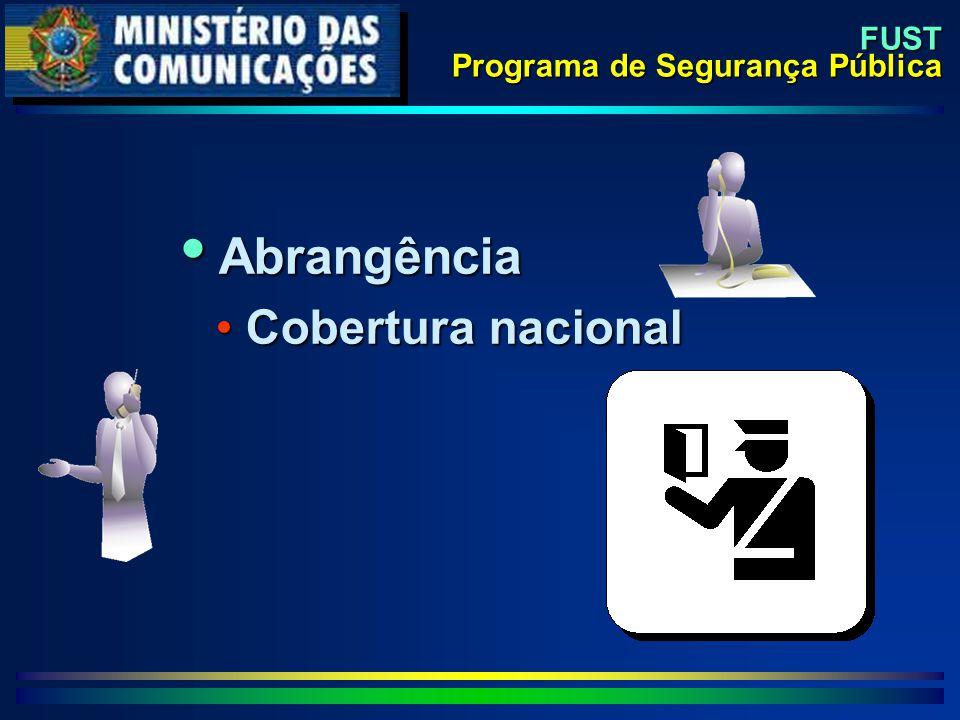 FUST Programa de Segurança Pública  Abrangência Cobertura nacionalCobertura nacional