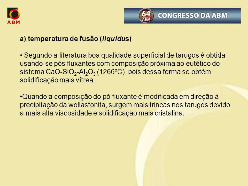 a) temperatura de fusão (liquidus) Segundo a literatura boa qualidade superficial de tarugos é obtida usando-se pós fluxantes com composição próxima a
