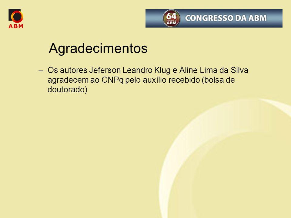 –Os autores Jeferson Leandro Klug e Aline Lima da Silva agradecem ao CNPq pelo auxílio recebido (bolsa de doutorado) Agradecimentos