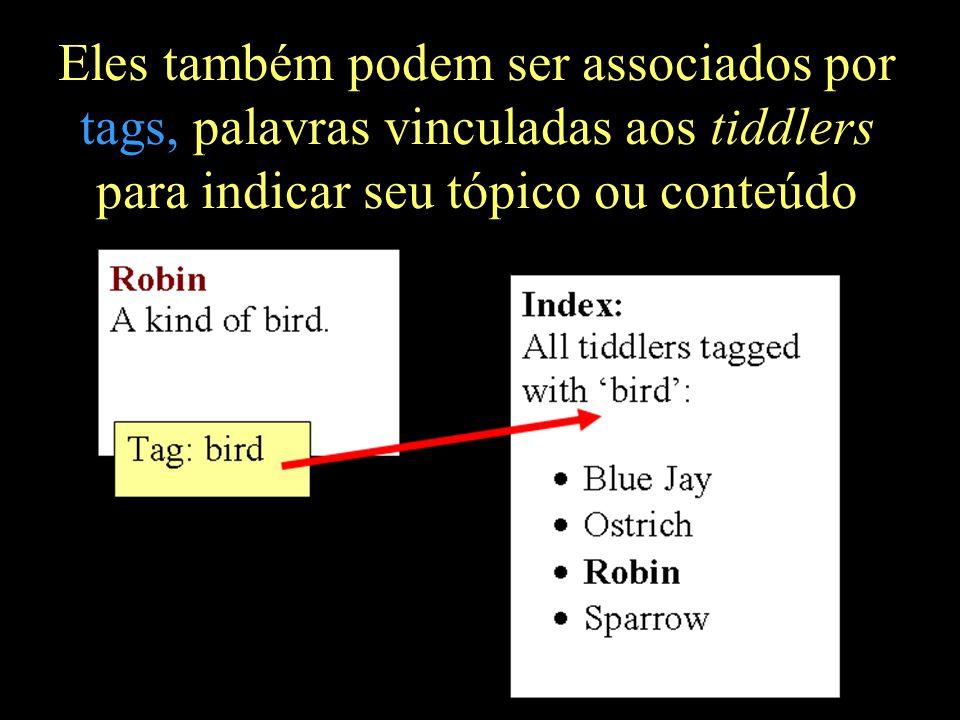 Eles também podem ser associados por tags, palavras vinculadas aos tiddlers para indicar seu tópico ou conteúdo