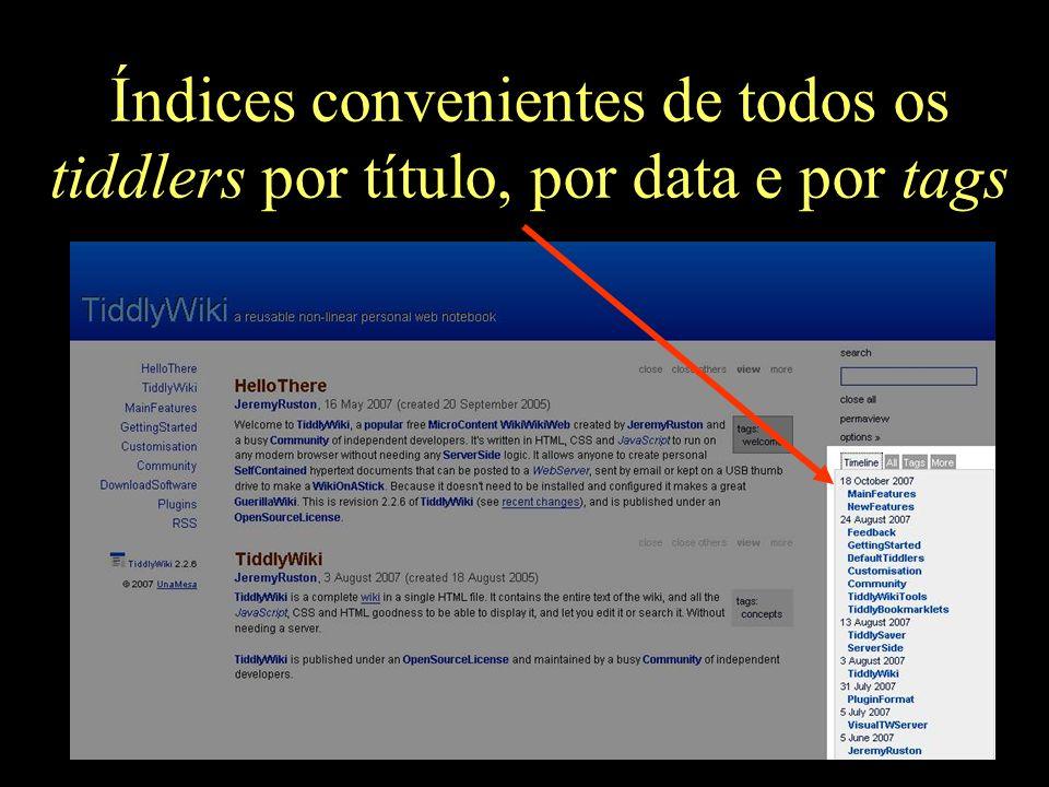 Índices convenientes de todos os tiddlers por título, por data e por tags
