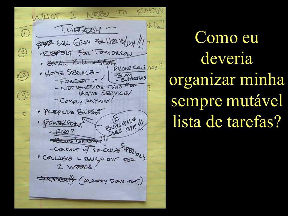 Como eu deveria organizar minha sempre mutável lista de tarefas?
