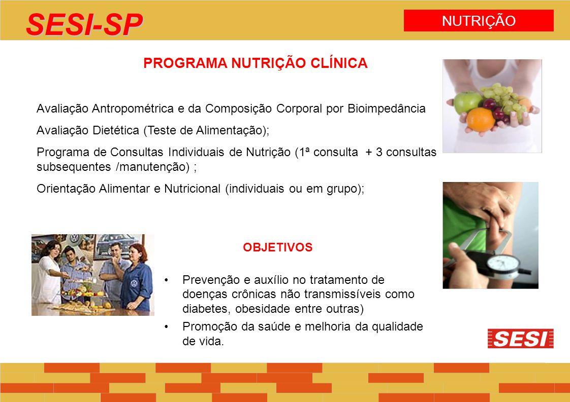 PROGRAMA NUTRIÇÃO CLÍNICA Avaliação Antropométrica e da Composição Corporal por Bioimpedância Avaliação Dietética (Teste de Alimentação); Programa de