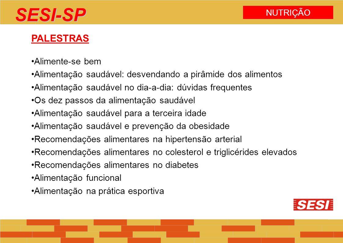 NUTRIÇÃO SESI-SP PALESTRAS Alimente-se bem Alimentação saudável: desvendando a pirâmide dos alimentos Alimentação saudável no dia-a-dia: dúvidas frequ