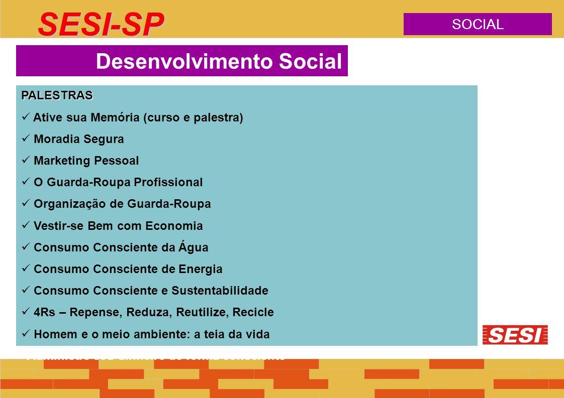 SOCIAL SESI-SP PALESTRAS Ative sua Memória (curso e palestra) Moradia Segura Marketing Pessoal O Guarda-Roupa Profissional Organização de Guarda-Roupa