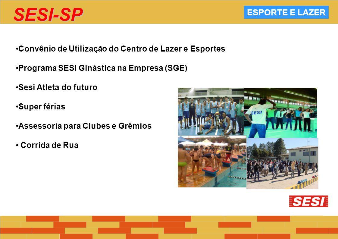 ESPORTE E LAZER Convênio de Utilização do Centro de Lazer e Esportes Programa SESI Ginástica na Empresa (SGE) Sesi Atleta do futuro Super férias Asses