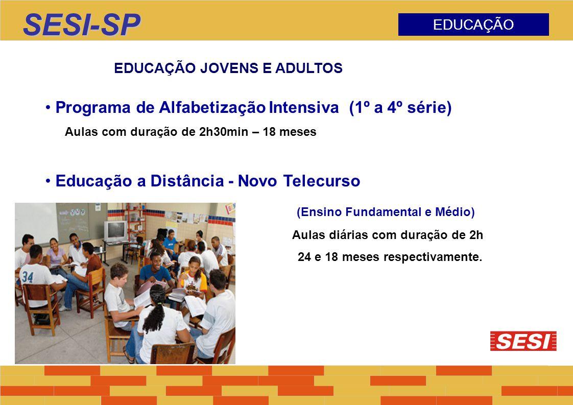 SESI-SP EDUCAÇÃO EDUCAÇÃO JOVENS E ADULTOS Programa de Alfabetização Intensiva (1º a 4º série) Aulas com duração de 2h30min – 18 meses Educação a Dist