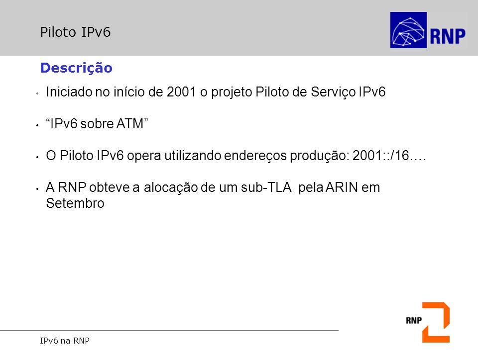 """IPv6 na RNP Piloto IPv6 Iniciado no início de 2001 o projeto Piloto de Serviço IPv6 """"IPv6 sobre ATM"""" O Piloto IPv6 opera utilizando endereços produção"""