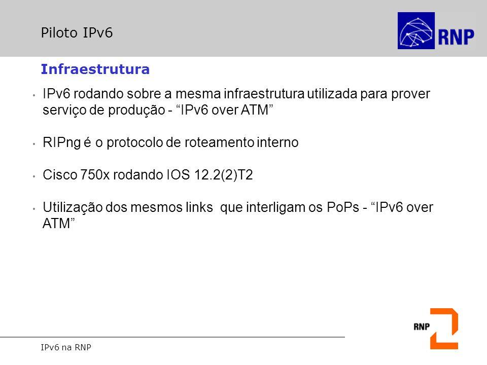 """IPv6 na RNP Piloto IPv6 IPv6 rodando sobre a mesma infraestrutura utilizada para prover serviço de produção - """"IPv6 over ATM"""" RIPng é o protocolo de r"""