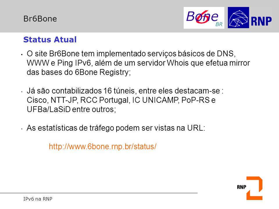 IPv6 na RNP Br6Bone Status Atual O site Br6Bone tem implementado serviços básicos de DNS, WWW e Ping IPv6, além de um servidor Whois que efetua mirror