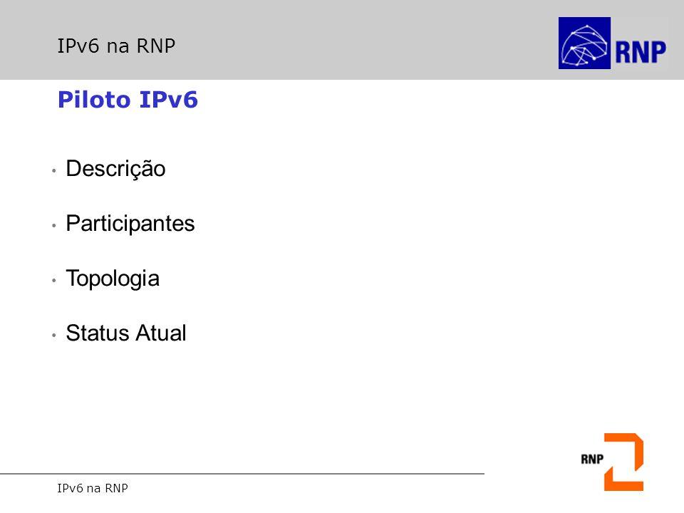 IPv6 na RNP Piloto IPv6 Iniciado no início de 2001 o projeto Piloto de Serviço IPv6 IPv6 sobre ATM O Piloto IPv6 opera utilizando endereços produção: 2001::/16….