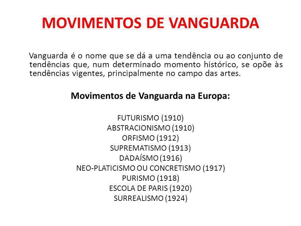 MOVIMENTOS DE VANGUARDA Vanguarda é o nome que se dá a uma tendência ou ao conjunto de tendências que, num determinado momento histórico, se opõe às tendências vigentes, principalmente no campo das artes.