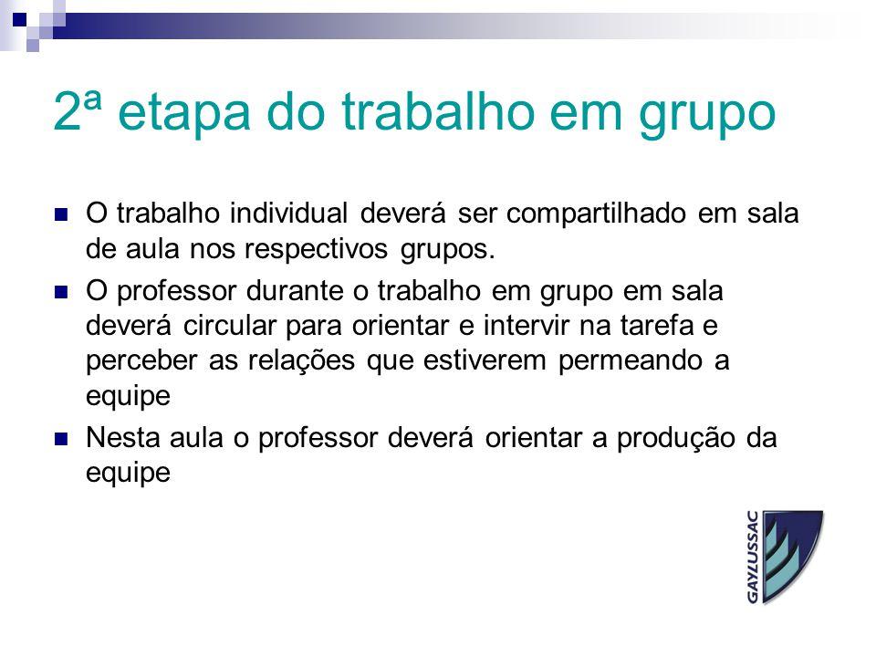 2ª etapa do trabalho em grupo O trabalho individual deverá ser compartilhado em sala de aula nos respectivos grupos. O professor durante o trabalho em