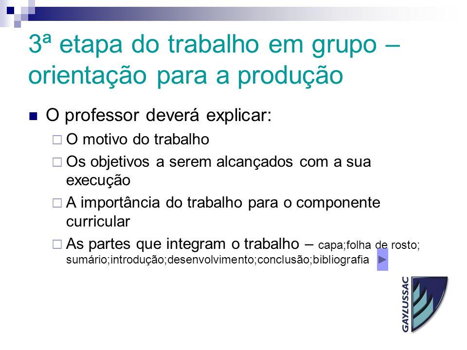 3ª etapa do trabalho em grupo – orientação para a produção O professor deverá explicar:  O motivo do trabalho  Os objetivos a serem alcançados com a