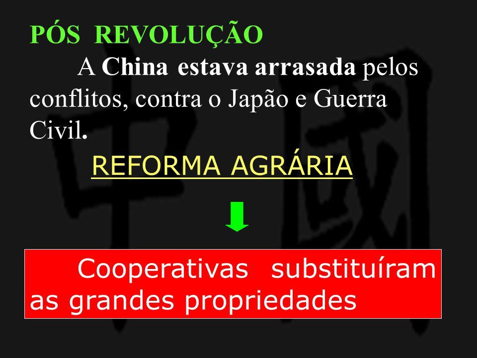REFORMA AGRÁRIA Cooperativas substituíram as grandes propriedades PÓS REVOLUÇÃO A China estava arrasada pelos conflitos, contra o Japão e Guerra Civil