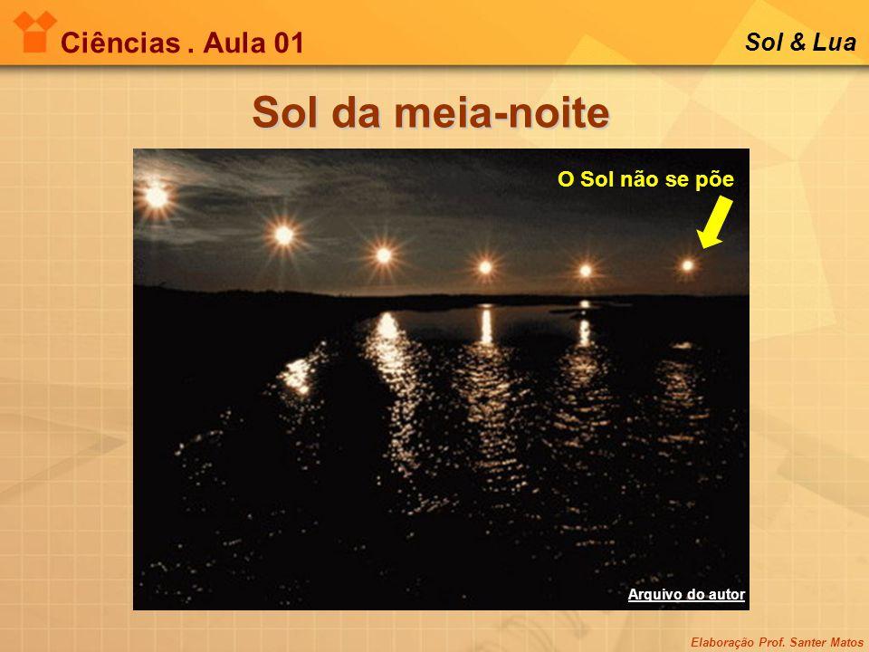 Elaboração Prof. Santer Matos Ciências. Aula 01 Sol & Lua Sol da meia-noite O Sol não se põe Arquivo do autor