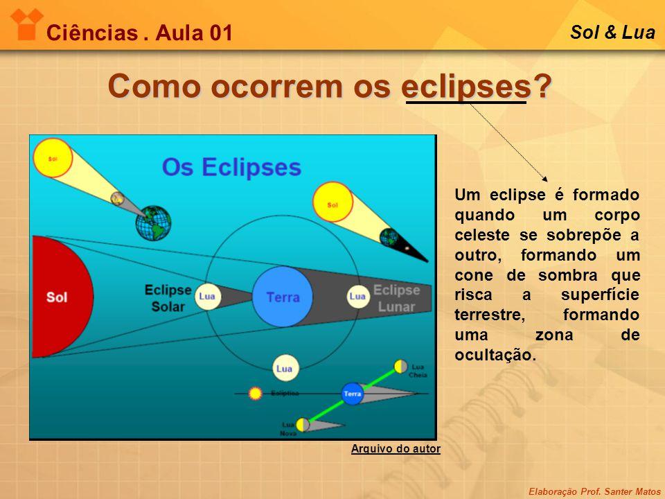 Elaboração Prof. Santer Matos Ciências. Aula 01 Sol & Lua Como ocorrem os eclipses? Um eclipse é formado quando um corpo celeste se sobrepõe a outro,