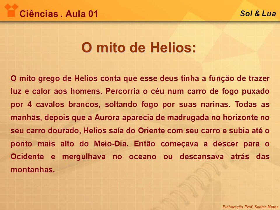 Elaboração Prof. Santer Matos Ciências. Aula 01 Sol & Lua O mito de Helios: O mito grego de Helios conta que esse deus tinha a função de trazer luz e