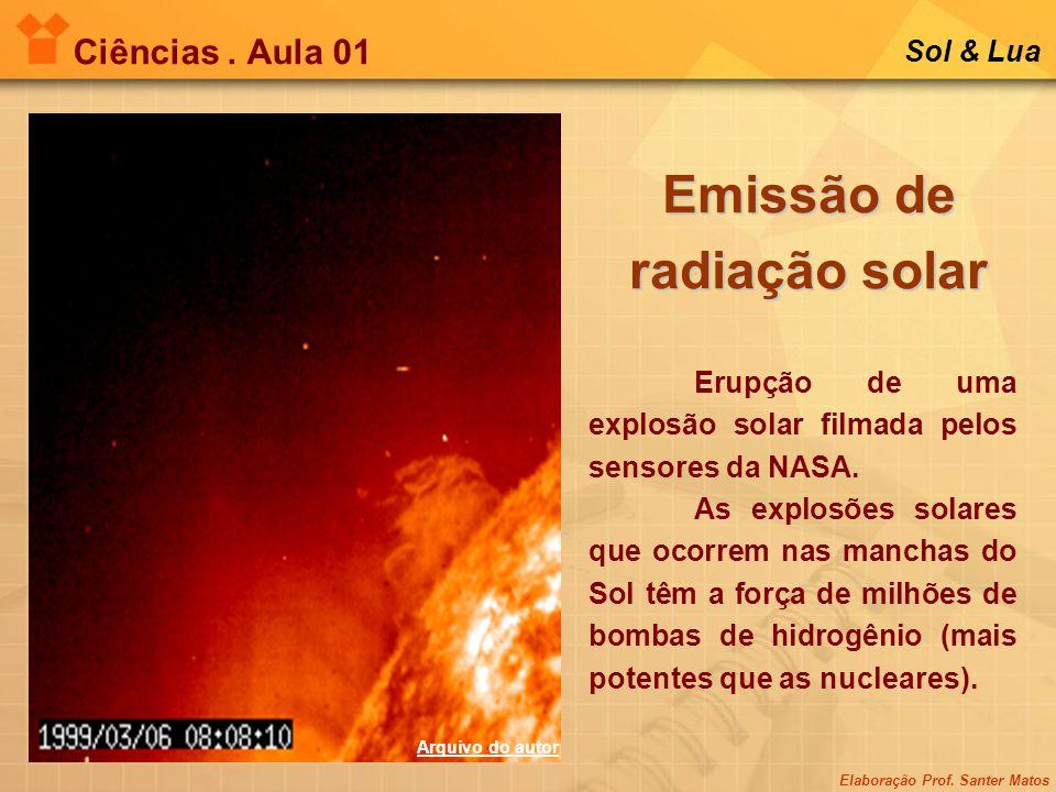 Elaboração Prof. Santer Matos Ciências. Aula 01 Sol & Lua Emissão de radiação solar Erupção de uma explosão solar filmada pelos sensores da NASA. As e