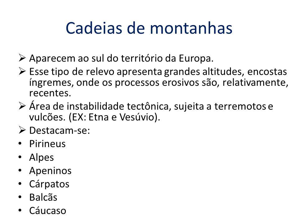 Cadeias de montanhas  Aparecem ao sul do território da Europa.  Esse tipo de relevo apresenta grandes altitudes, encostas íngremes, onde os processo