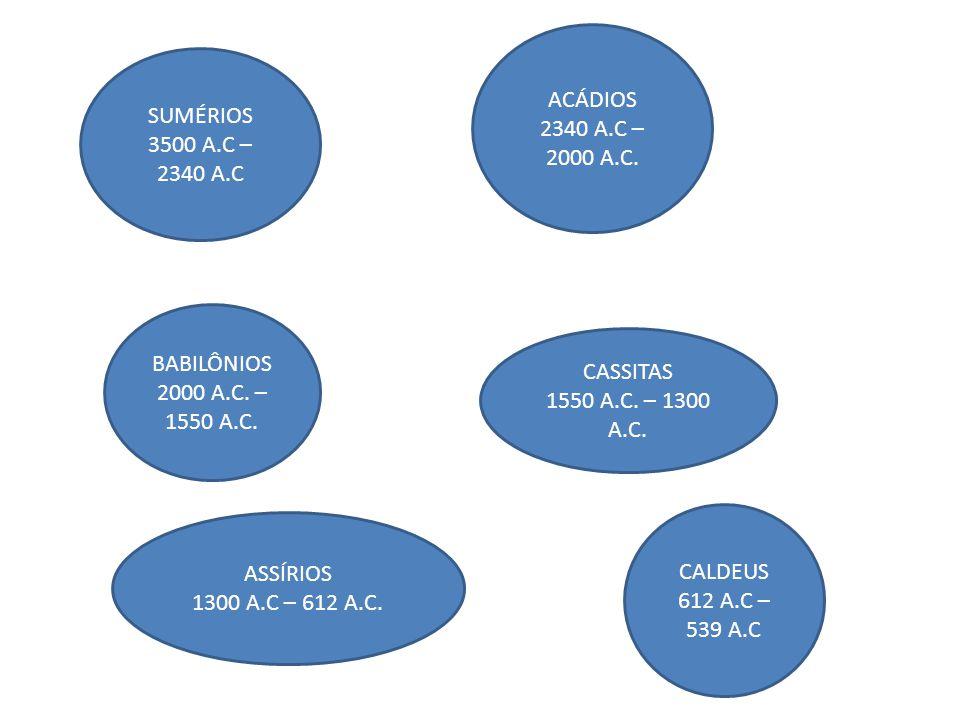 SUMÉRIOS 3500 A.C – 2340 A.C ACÁDIOS 2340 A.C – 2000 A.C. BABILÔNIOS 2000 A.C. – 1550 A.C. CASSITAS 1550 A.C. – 1300 A.C. ASSÍRIOS 1300 A.C – 612 A.C.
