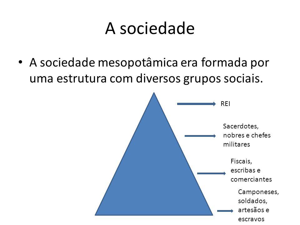 A sociedade A sociedade mesopotâmica era formada por uma estrutura com diversos grupos sociais. REI Sacerdotes, nobres e chefes militares Fiscais, esc