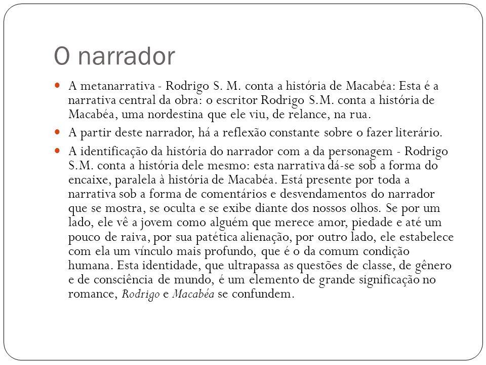 O narrador A metanarrativa - Rodrigo S. M. conta a história de Macabéa: Esta é a narrativa central da obra: o escritor Rodrigo S.M. conta a história d