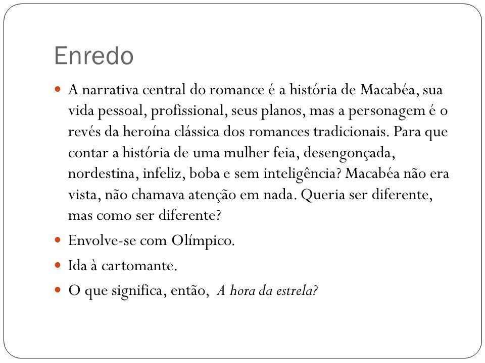 Enredo A narrativa central do romance é a história de Macabéa, sua vida pessoal, profissional, seus planos, mas a personagem é o revés da heroína clás