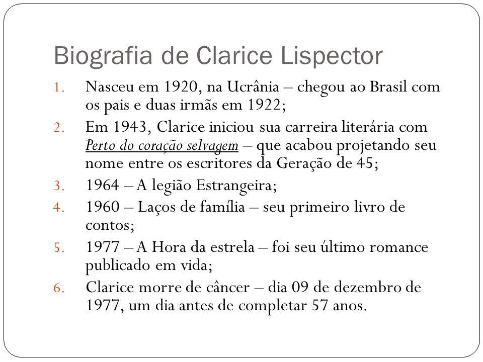 Biografia de Clarice Lispector 1. Nasceu em 1920, na Ucrânia – chegou ao Brasil com os pais e duas irmãs em 1922; 2. Em 1943, Clarice iniciou sua carr