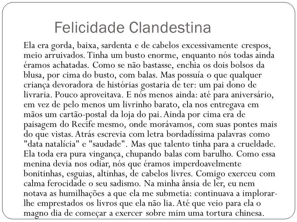 Felicidade Clandestina Ela era gorda, baixa, sardenta e de cabelos excessivamente crespos, meio arruivados. Tinha um busto enorme, enquanto nós todas