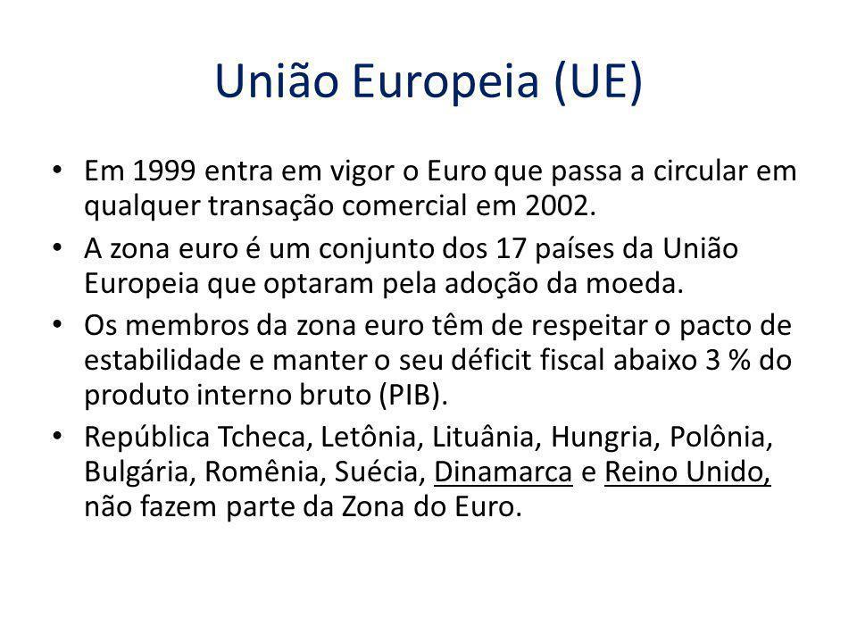 União Europeia (UE) Em 1999 entra em vigor o Euro que passa a circular em qualquer transação comercial em 2002. A zona euro é um conjunto dos 17 paíse