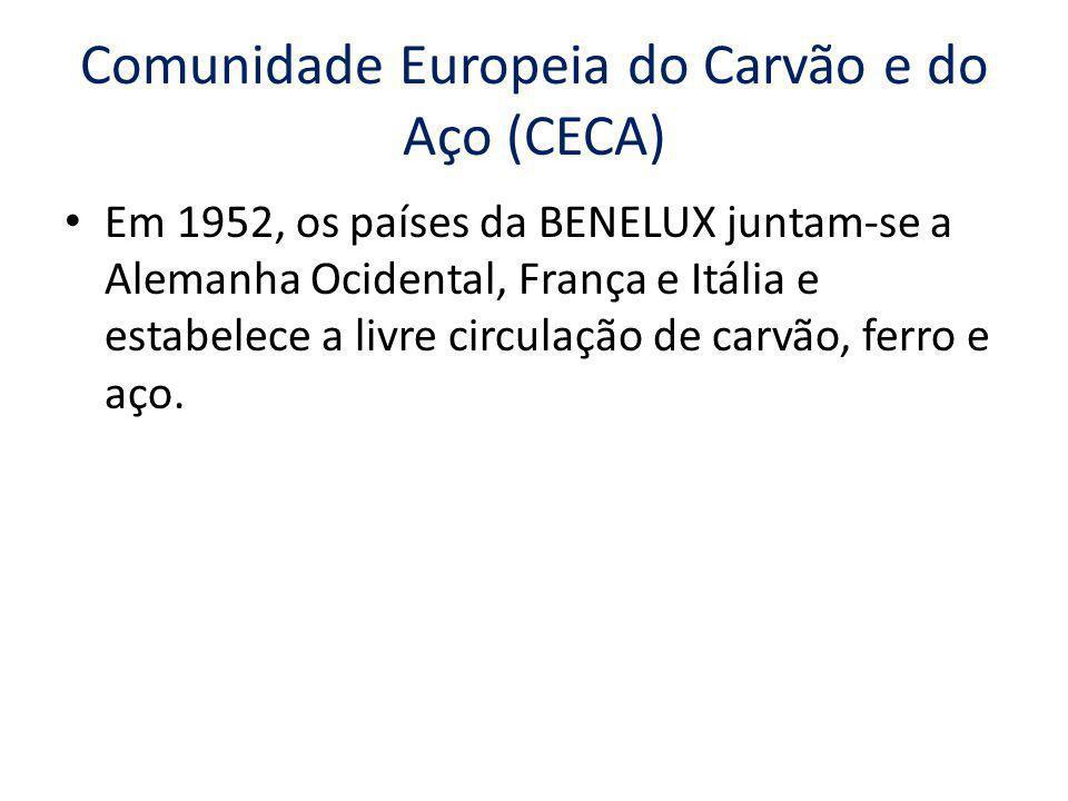 Comunidade Europeia do Carvão e do Aço (CECA) Em 1952, os países da BENELUX juntam-se a Alemanha Ocidental, França e Itália e estabelece a livre circu