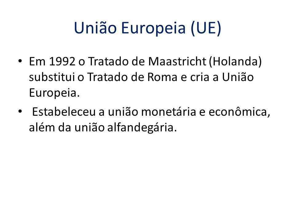 União Europeia (UE) Em 1992 o Tratado de Maastricht (Holanda) substitui o Tratado de Roma e cria a União Europeia. Estabeleceu a união monetária e eco