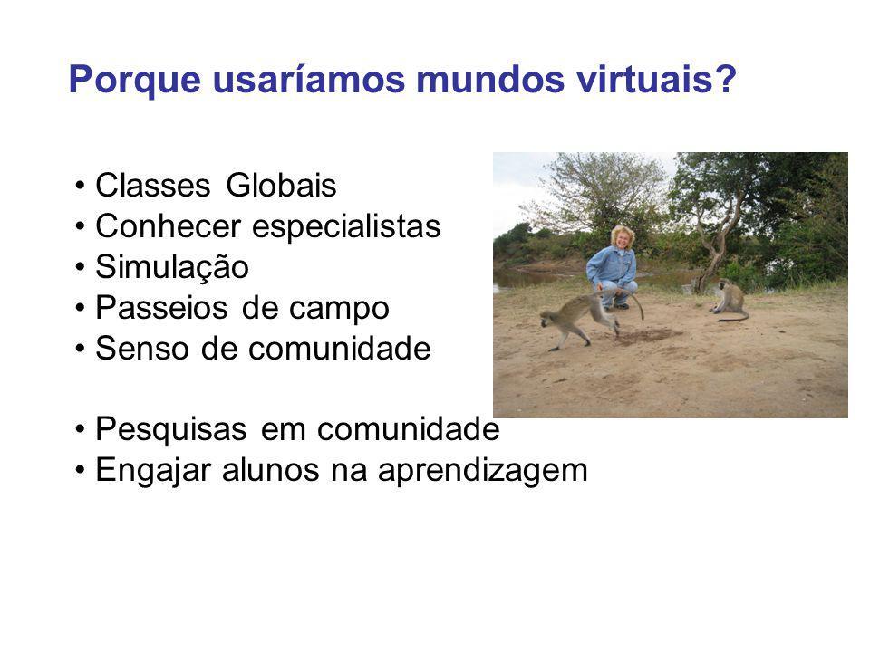 Classes Globais Conhecer especialistas Simulação Passeios de campo Senso de comunidade Pesquisas em comunidade Engajar alunos na aprendizagem Porque usaríamos mundos virtuais