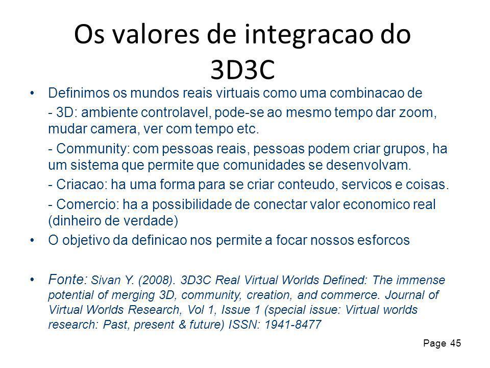45 Page Os valores de integracao do 3D3C Definimos os mundos reais virtuais como uma combinacao de - 3D: ambiente controlavel, pode-se ao mesmo tempo dar zoom, mudar camera, ver com tempo etc.