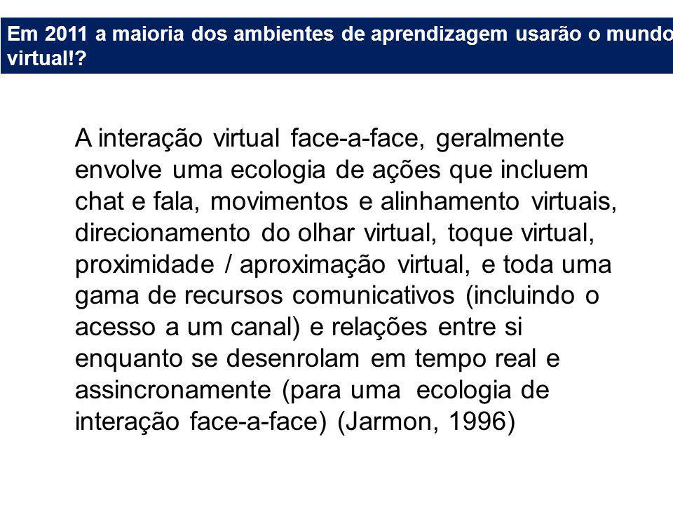 Em 2011 a maioria dos ambientes de aprendizagem usarão o mundo virtual!.