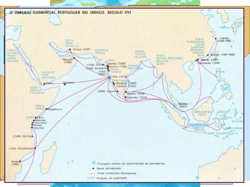 Navegações portuguesas chegar às Índias contornando a África 1415 Conquista de Ceuta 1488 Bartolomeu Dias chega ao Cabo das Tormentas 1498 Vasco da Gama chega às Índias 1500 Pedro Álvares Cabral chega ao Brasil