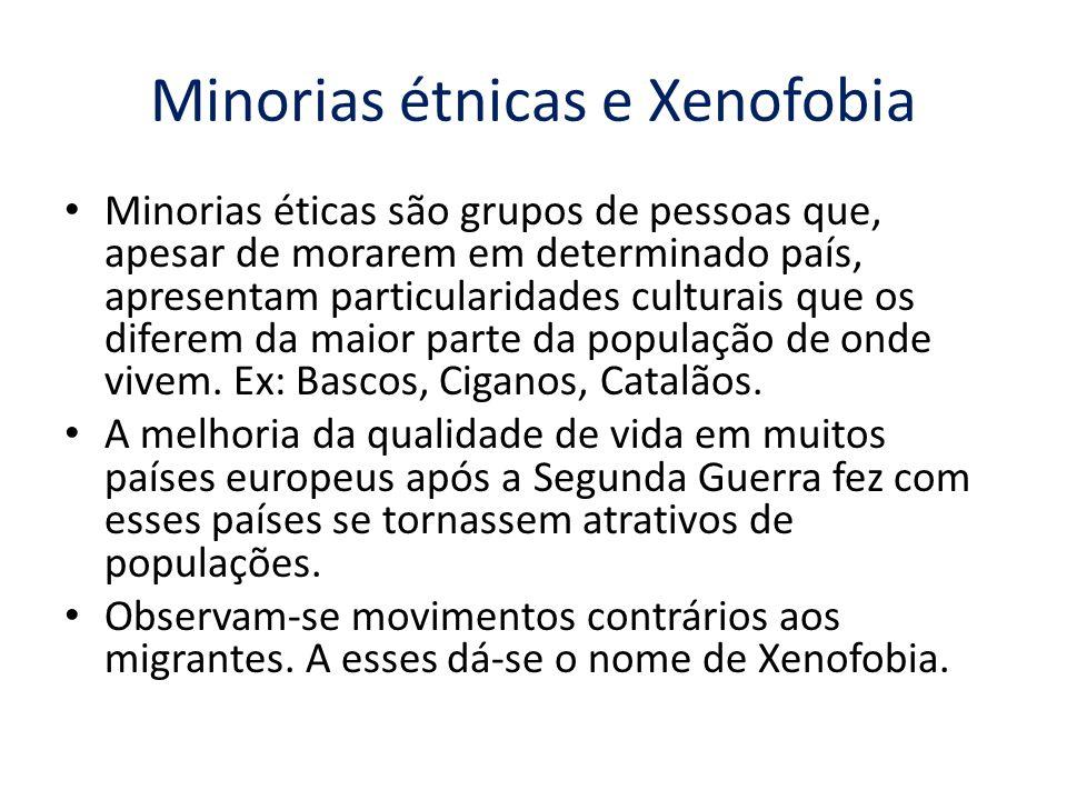 Minorias étnicas e Xenofobia Minorias éticas são grupos de pessoas que, apesar de morarem em determinado país, apresentam particularidades culturais q