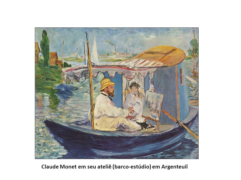 Claude Monet em seu ateliê (barco-estúdio) em Argenteuil