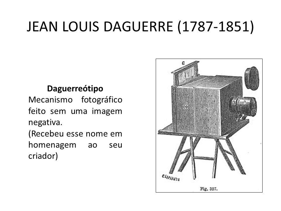 JEAN LOUIS DAGUERRE (1787-1851) Daguerreótipo Mecanismo fotográfico feito sem uma imagem negativa. (Recebeu esse nome em homenagem ao seu criador)