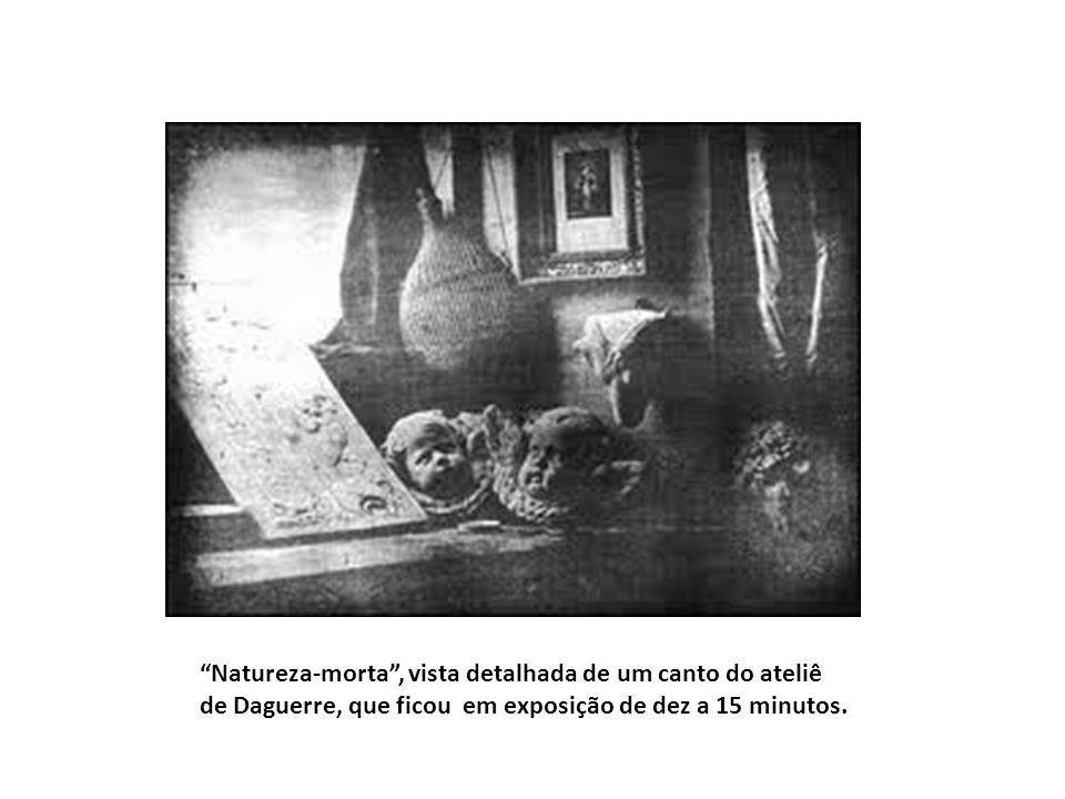 """""""Natureza-morta"""", vista detalhada de um canto do ateliê de Daguerre, que ficou em exposição de dez a 15 minutos."""