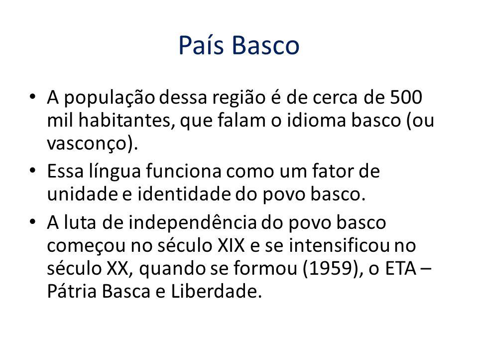 A população dessa região é de cerca de 500 mil habitantes, que falam o idioma basco (ou vasconço). Essa língua funciona como um fator de unidade e ide