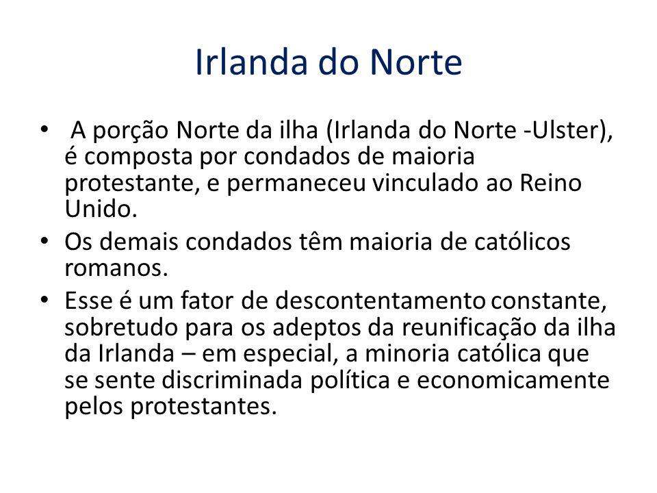 A porção Norte da ilha (Irlanda do Norte -Ulster), é composta por condados de maioria protestante, e permaneceu vinculado ao Reino Unido. Os demais co