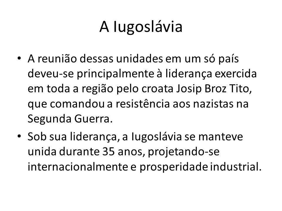 A Iugoslávia A reunião dessas unidades em um só país deveu-se principalmente à liderança exercida em toda a região pelo croata Josip Broz Tito, que co