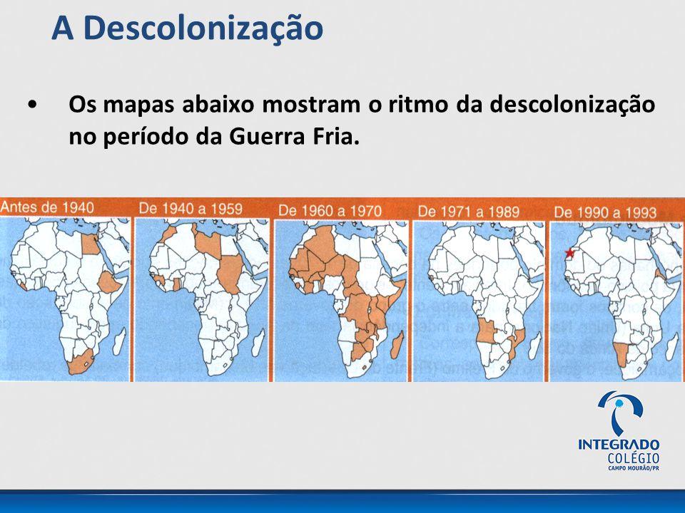 Os mapas abaixo mostram o ritmo da descolonização no período da Guerra Fria. A Descolonização